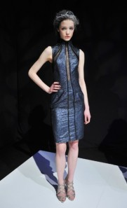 Rafael Cennamo Metallic Mesh Cocktail Dress